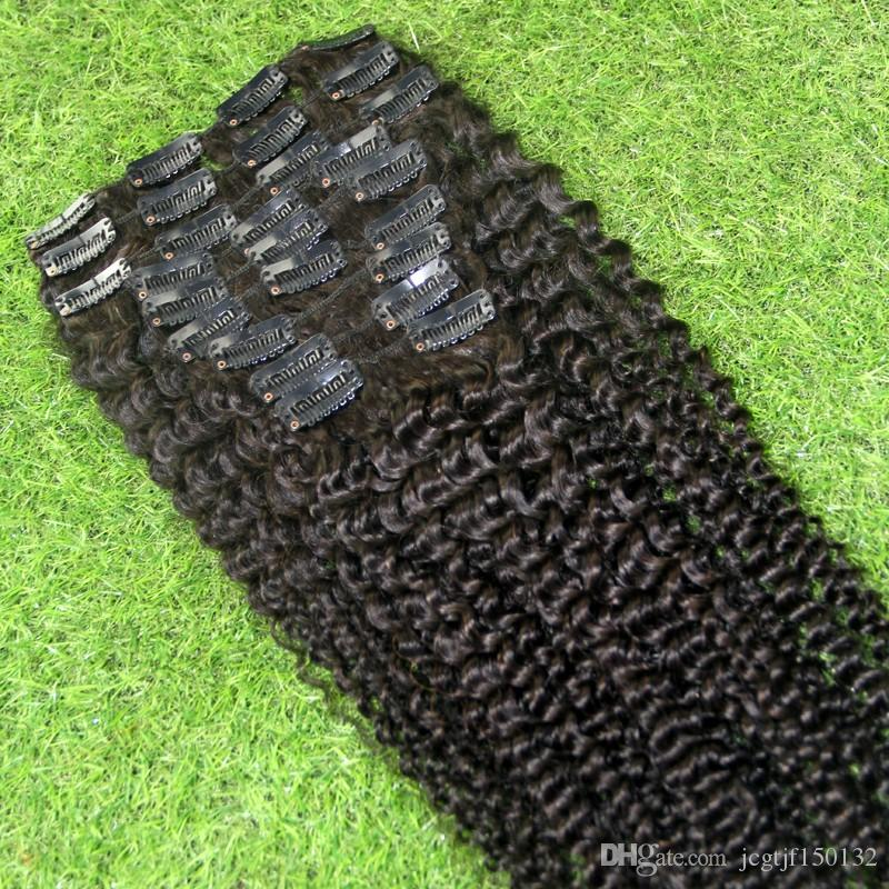 Natural Color mongolian kinky curly hair african american clip in human hair extensions 100g afro kinky clip in extensions