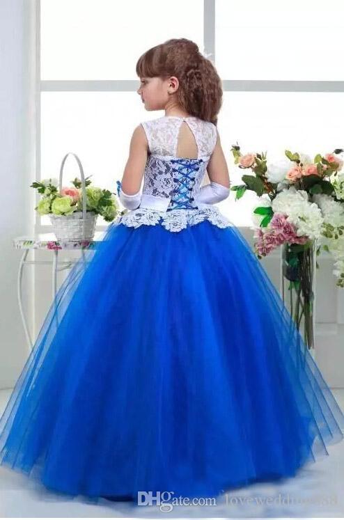 Vintage Blau Und Weiß Mädchen Festzug Kleider 2017 Neue Marke Applique Spitze Top Tüll Ballkleider Nette Blumenmädchen Kleider Lace Up Zurück