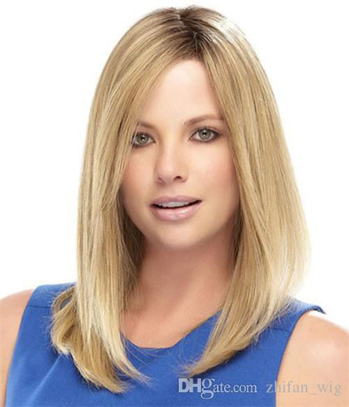 Z&F Blonde Wigs For White Women Rose Net Cheap Natural Looking Wigs 16 Inch Straight Halve Fashion European Style