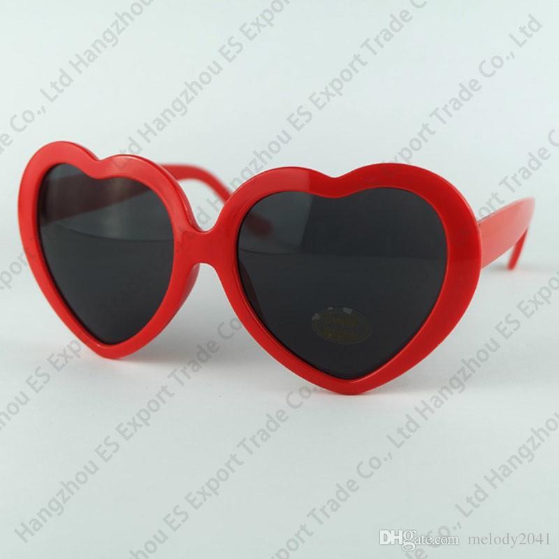 DHL корабль 13 цветов мода женщин девушка лето форма сердца Лолита солнцезащитные очки партии пляж Солнечный Свет тень сердца очки UV400