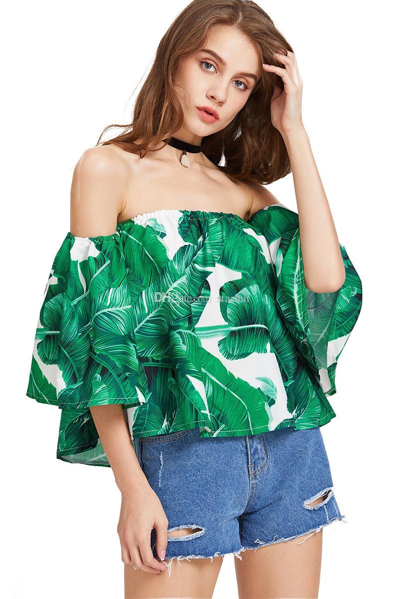 Frauen T-Shirt Sexy Tops Print Shirts Schulterfrei O-Ausschnitt T-Shirts Casual Camis Fashion Bluse Solid Sommer Shirt Frauen Vestido Coat WX-F03