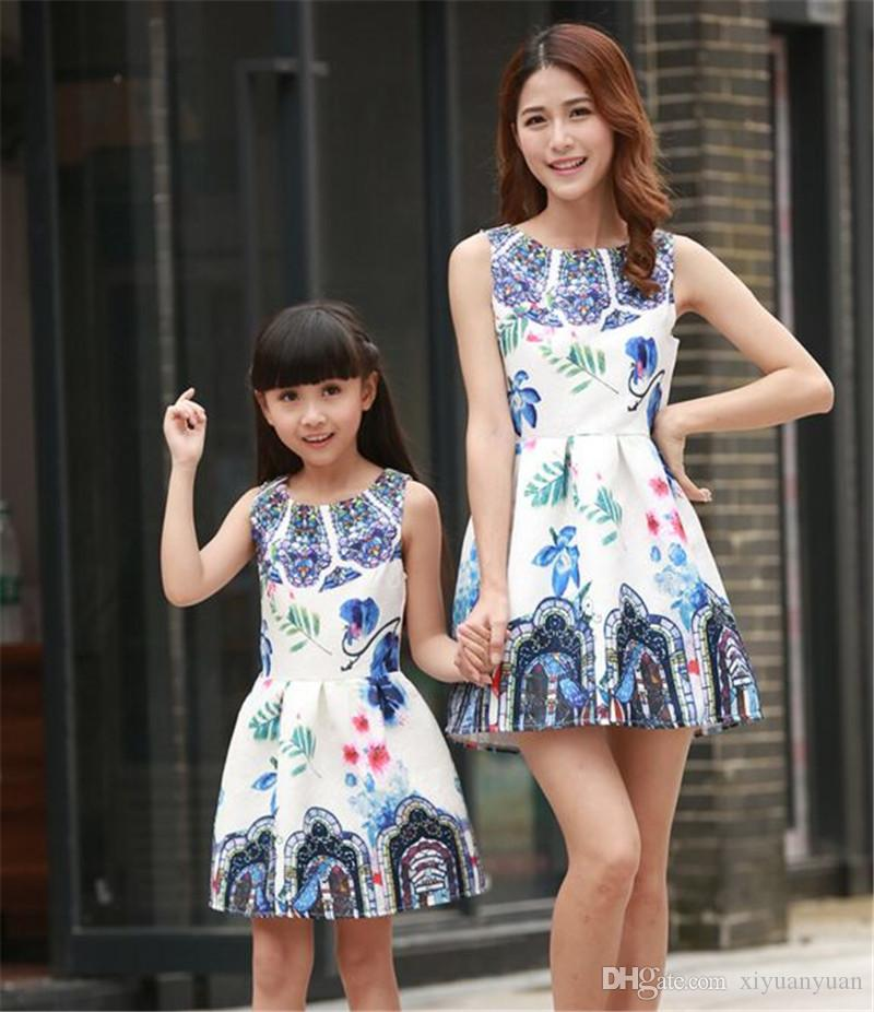 Family Matching Clothing Dresses For Girls And Mother