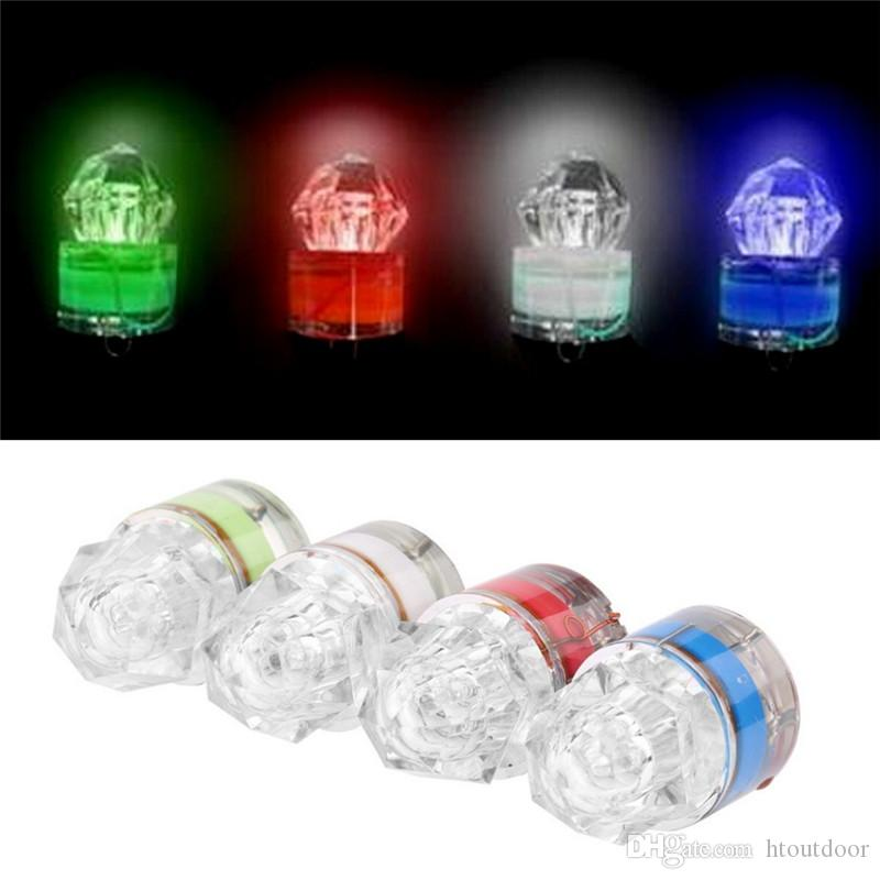 4 색 LED 깊은 드롭 수중 다이아몬드 낚시 깜박이 야간 낚시 미끼 유혹 잠수 램프 오징어 스트로브