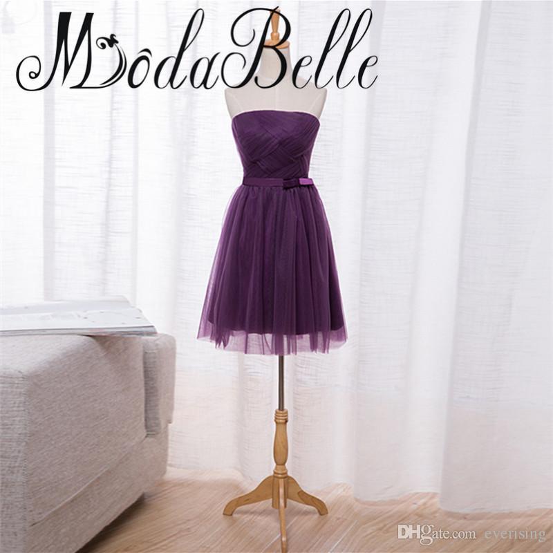 Robe Courte Demoiselle d'Honneur Viola Abiti da damigella d'onore 2017 Lace Up Vestido Boda Invitada Abiti da damigella d'onore Brevi abiti convenzionali