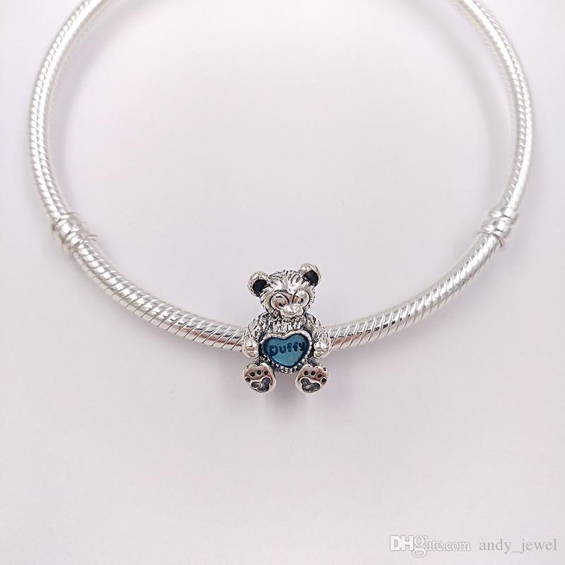 Authentic 925 Sterling Silver Beads Duffy With Blue Enamel Charms Fits European Pandora Style Jewelry Bracelets & Necklace 792129EN128