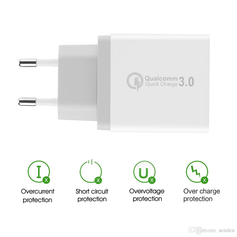 Original Quick Charge 3.0 30W USB Charger QC3.0 Travel Wall Charger Mobile Phone Fast charge Adapter for Samsung Galaxy S8 S7 iPhone 8 8Plus