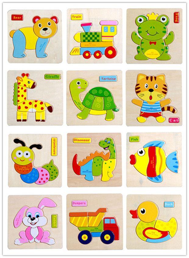 24 stilleri Çocuklar sevimli Hayvan Ahşap Bulmacalar 15 * 15cm Bebek Bebekler renkli Ahşap yapboz istihbarat oyuncaklar hayvan araçlar 1-6T için