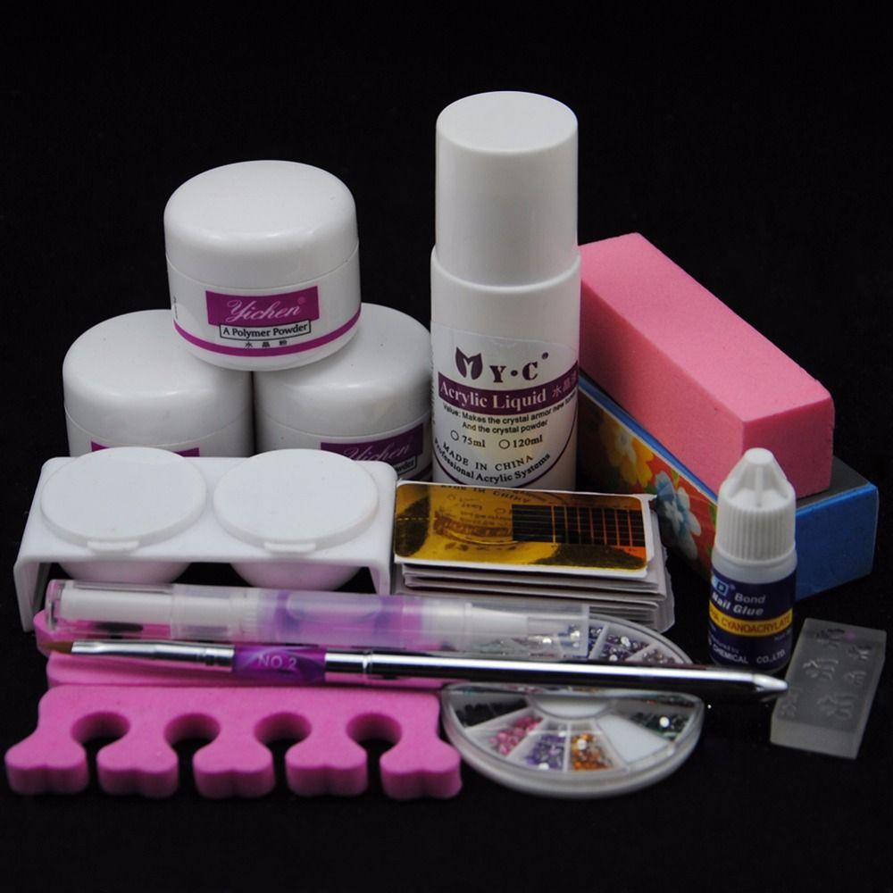 Wholesale Acrylic Nail Set Powder And Ml Liquid For Fake Nails Tips Design Rhinestone Wheel Crystal Brush Nail Form Tools Nail Kit Set Uv Nail Set Cheap