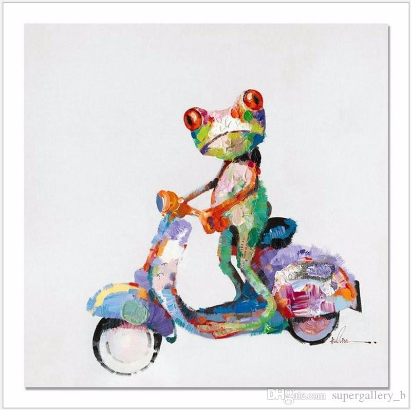 Colorful Frog on the Motorcycle Handpainted Modern Abstract Animals Art oil painting,Home Decor On High Quality Canvas size can be customize