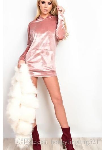 2017 nouvelles femmes de la mode européenne à capuche à manches longues de couleur unie avec des poches velours sweat à capuche pulls pullover tops