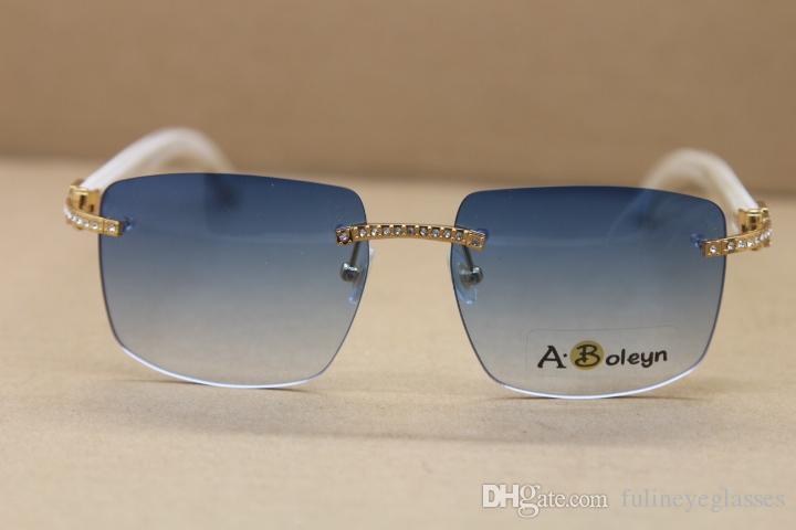 도매 판매 스타일 Samll Diamond Sunglasses Rimless T8300816 흰색 버팔로 경적 안경 유명한 C 장식 남성과 여성 프레임 크기 : 54-18-140mm