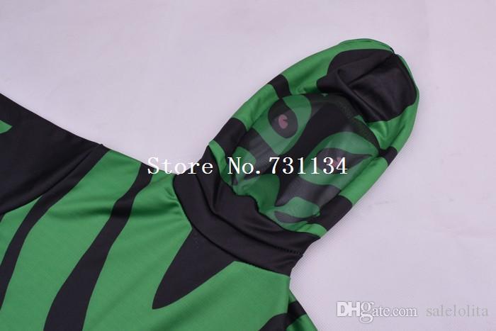 Crianças Superhero Spandex Zentai Verde e Preto Lycra Terno Criança Animal Bodysuit Completo Crianças Trajes de Halloween