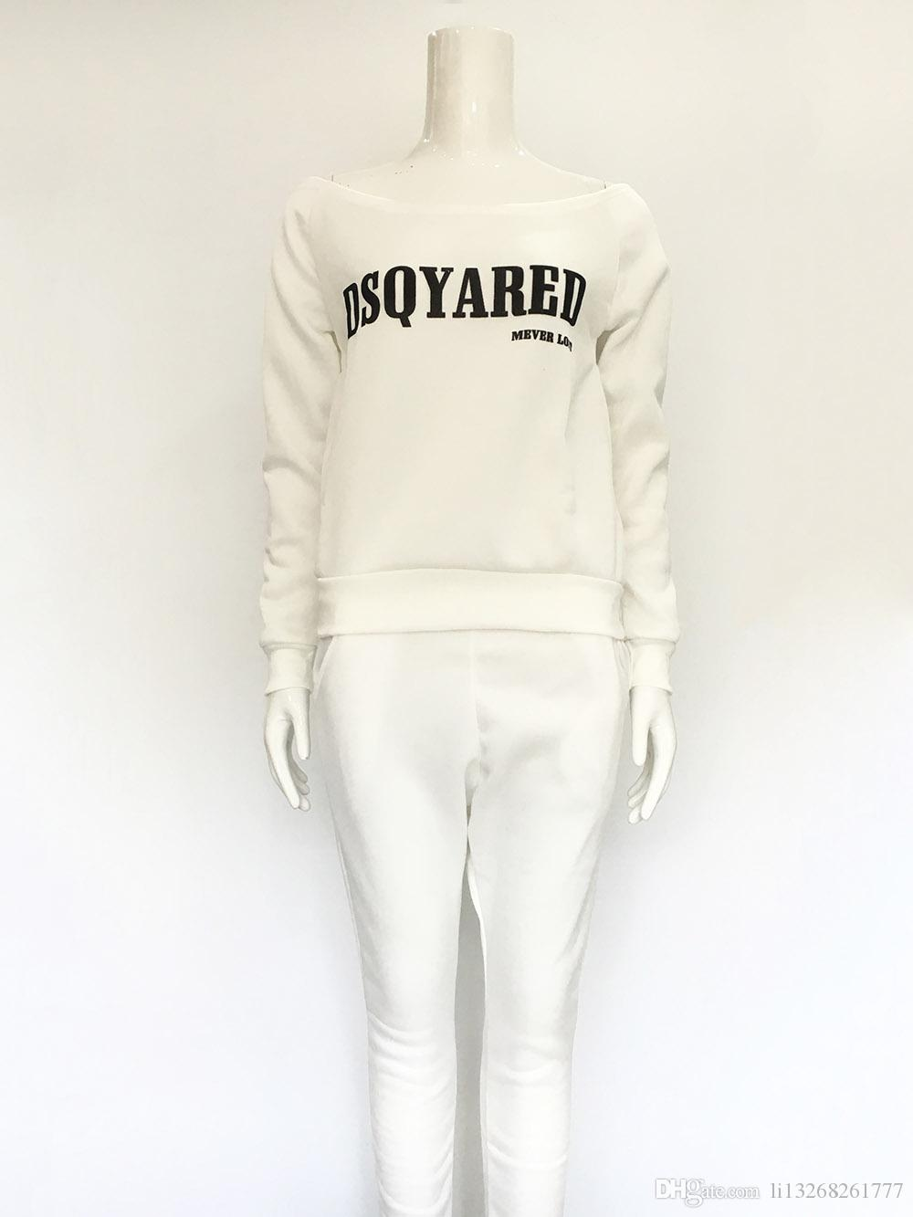 2017 Autunno Inverno Donna Sportswear Sets Tuta Casual manica lunga Pullover Black Letter Stampa 2 pezzi Cotton Slash Neck