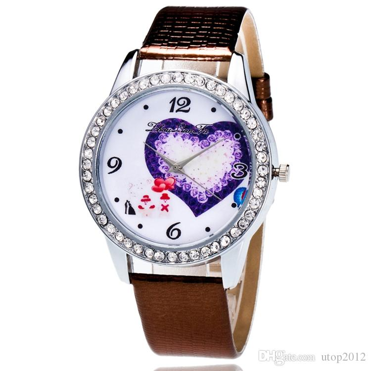 New Painted Blackground Leather Strap Watch Santa Claus Christmas Tree Sweet Heart Via DHL Epacket