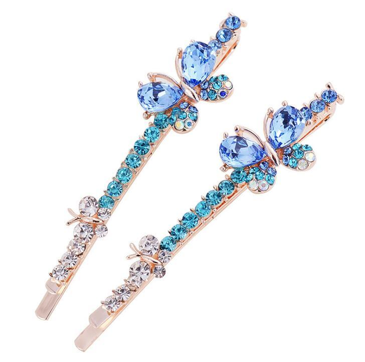 Luxury crystal Rhinestone double butterfly Hairpins Hair Clip barrettes for girl bang hair accessory Christmas gift