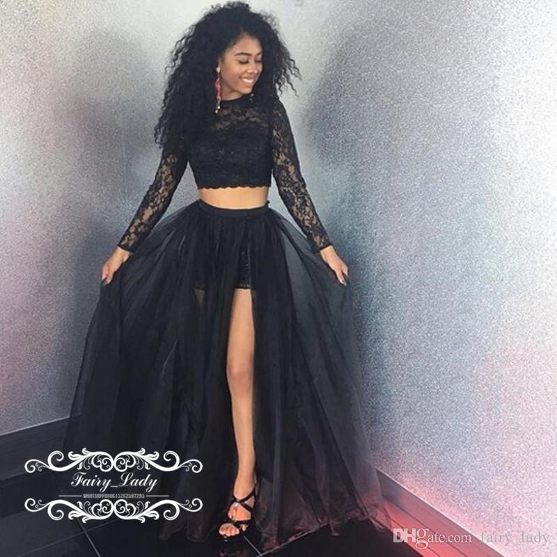 Frente sexy Crop Top dividida de dos piezas Vestidos de baile 2018 Manga larga Negro Chicas Ilusión Sheer Lace A Line Vestido de noche de las mujeres vestido