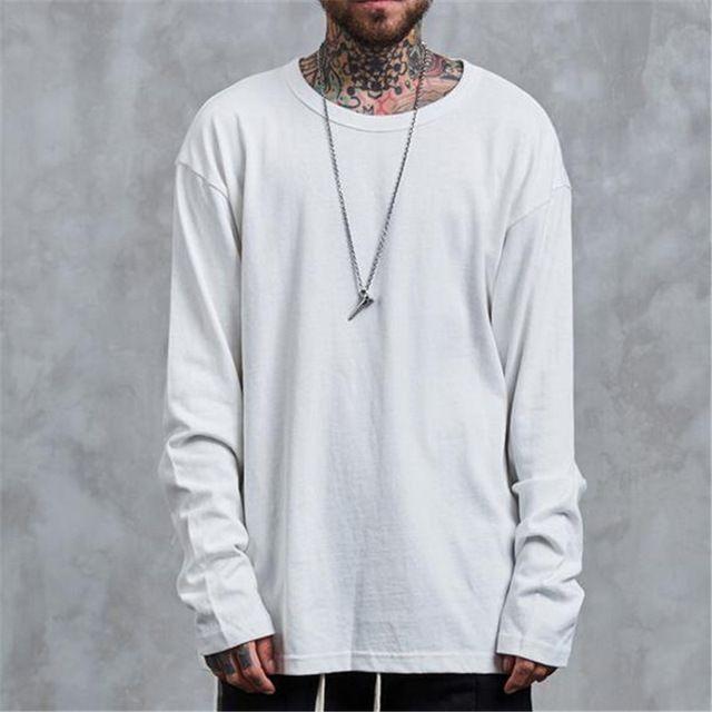 Mens Long Sleeve T Shirts Men Solid Cotton Round Collar Camisetas ...