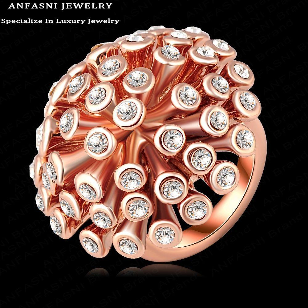 2018 Anfasni Funky Jewelry Ring Unique Rose Gold Plated Genuine ...