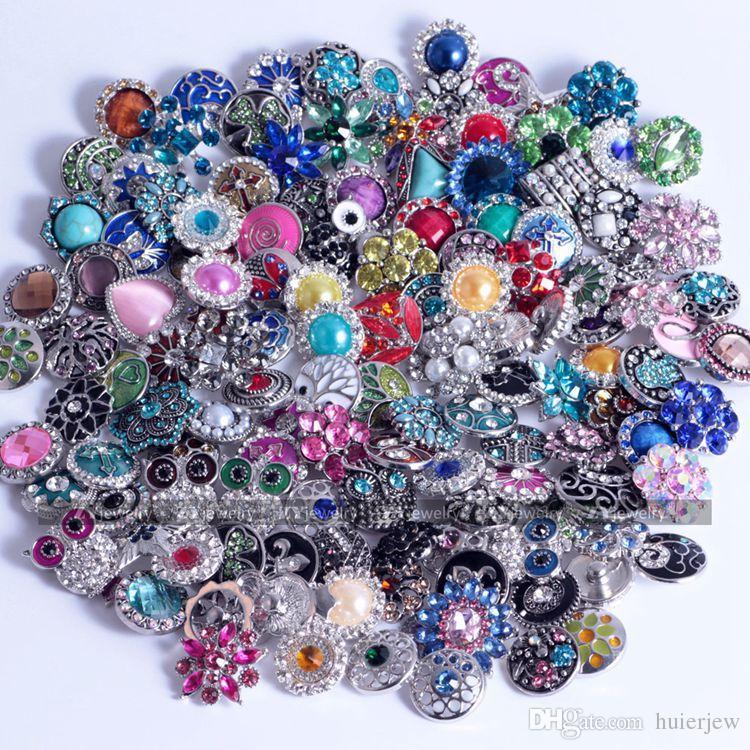 مجوهرات جميلة رخيصة ل زر المفاجئة قلادة 18 ملليمتر الزنجبيل الزجاج حجر الراين بالجملة مجوهرات اكسسوارات diy للجلود سحر أساور