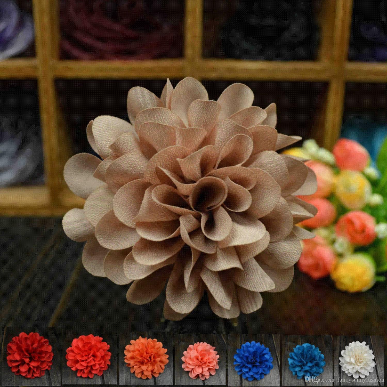 Large Elegant Flower Brooch Lapel Pins Handmade Boutonniere Stick