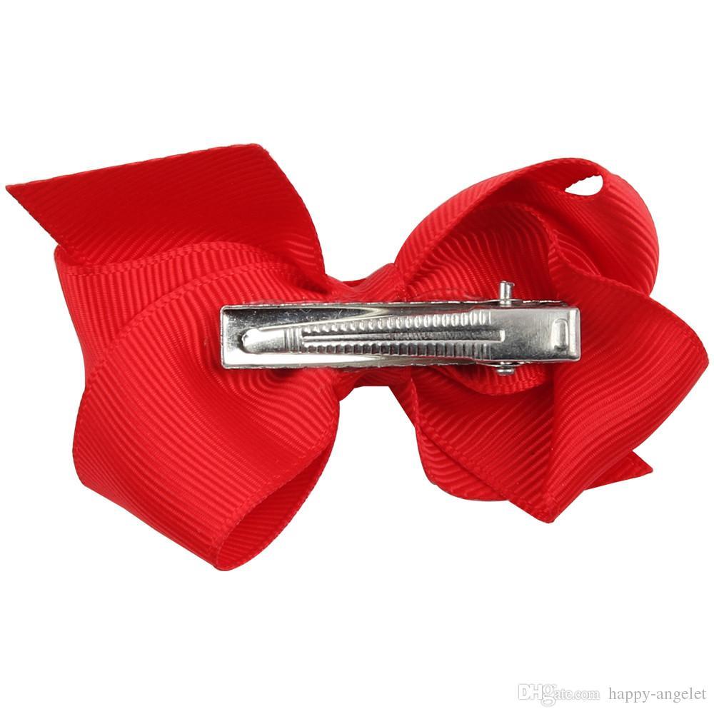 100 unids venta caliente Coreana 3 PULGADAS Grosgrain Ribbon Hairbows Accesorios de Niña Con Clip Boutique de Pelo Arcos Horquillas para el cabello Lazos HD3201