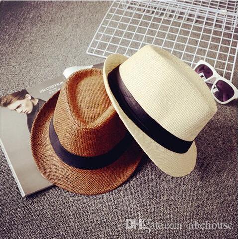 Cheap Men Women Hat Kids Children Straw Hats Cap Soft Fedora Panama Belt Hats Outdoor Stingy Brim Caps Spring Summer Beach