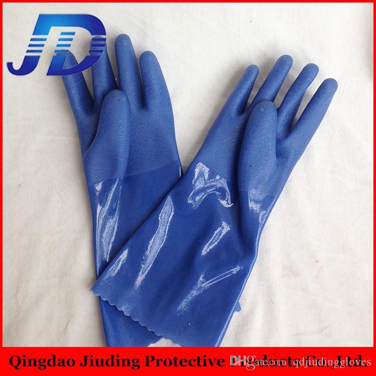 Китай импортеры Оптовая 13 датчик скольжения доказательство ПВХ покрытием нейлоновые перчатки / синий песчаный рабочие перчатки с бесплатными образцами для нефти и газа