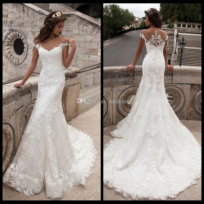 Cheap Wedding Gowns.2019 Vintage Mermaid Wedding Dress Full Length Scoop Neck Bridal Gown Sexy Cap Sleeve 2018 Bridal Wedding Gown Sweep Train