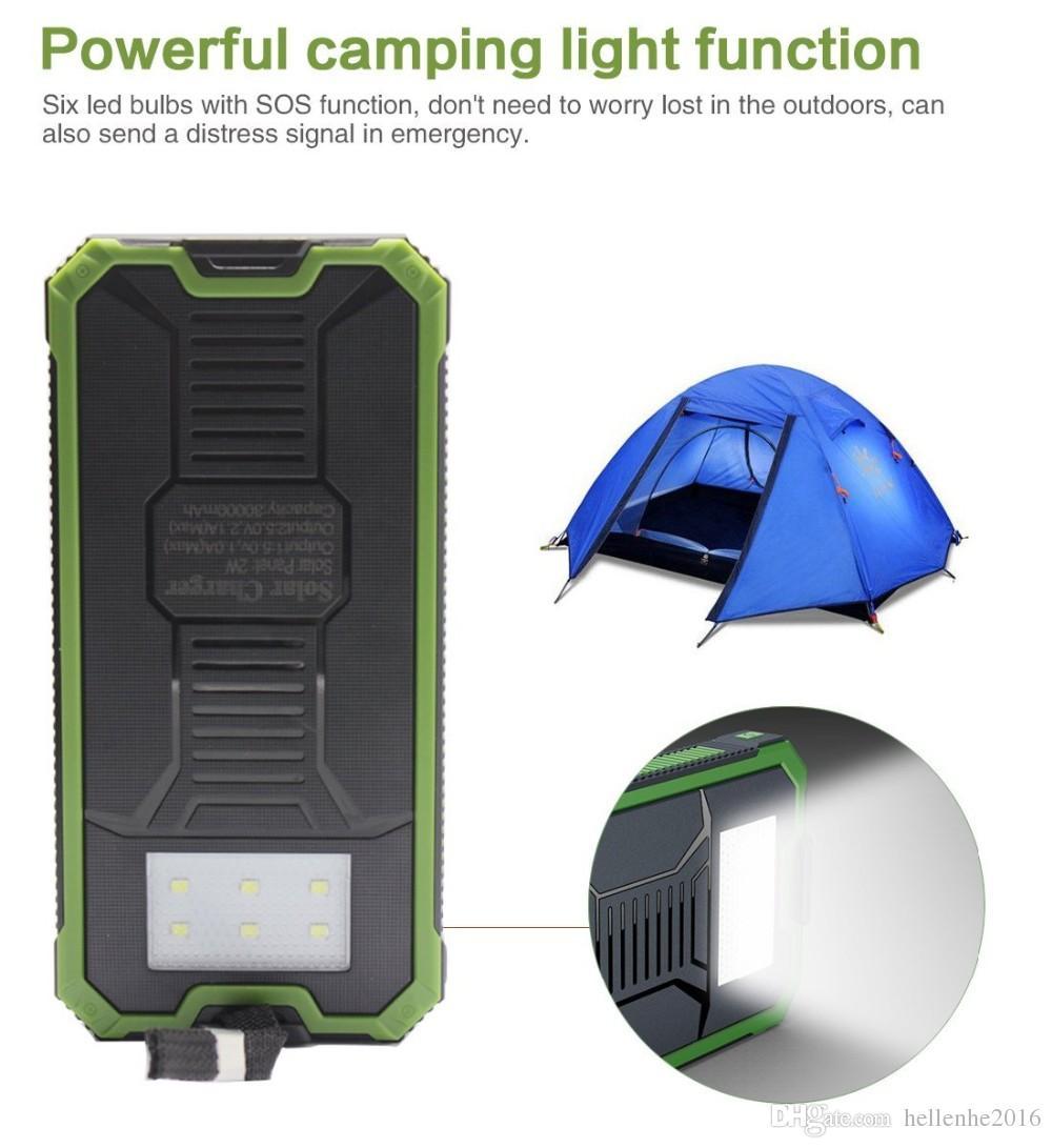 New outdoor Solar power bank 20000 mah mobile powerbank universal portable solar charger LED light solar battery