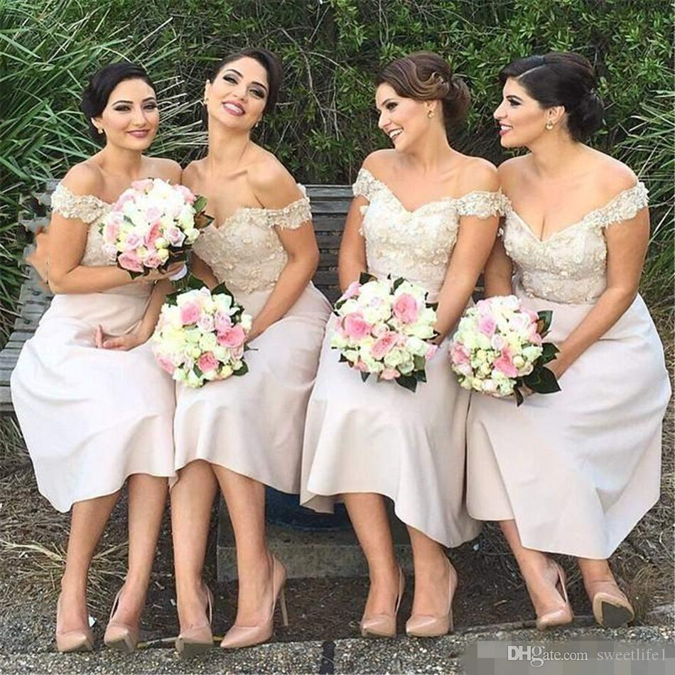 2017 off the shoulder bridesmaid dresses for wedding lace 2017 off the shoulder bridesmaid dresses for wedding lace appliques tea length bridesmaid gowns cheap wedding guest women party dress latest bridesmaid ombrellifo Gallery