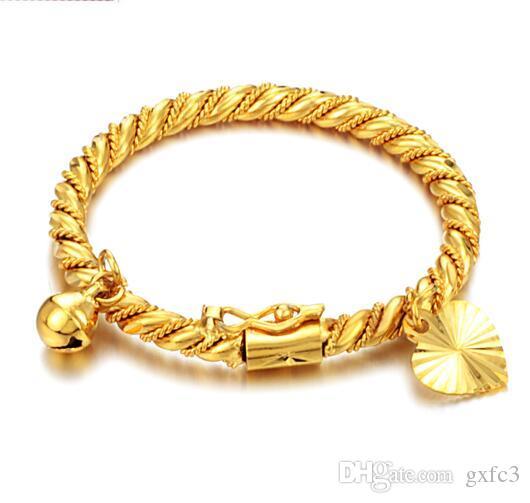 Золотой браслет Браслет манжеты для детей Ребенок мальчик девочка сердце ребенка кулон Белл твист цепь браслет ювелирные изделия
