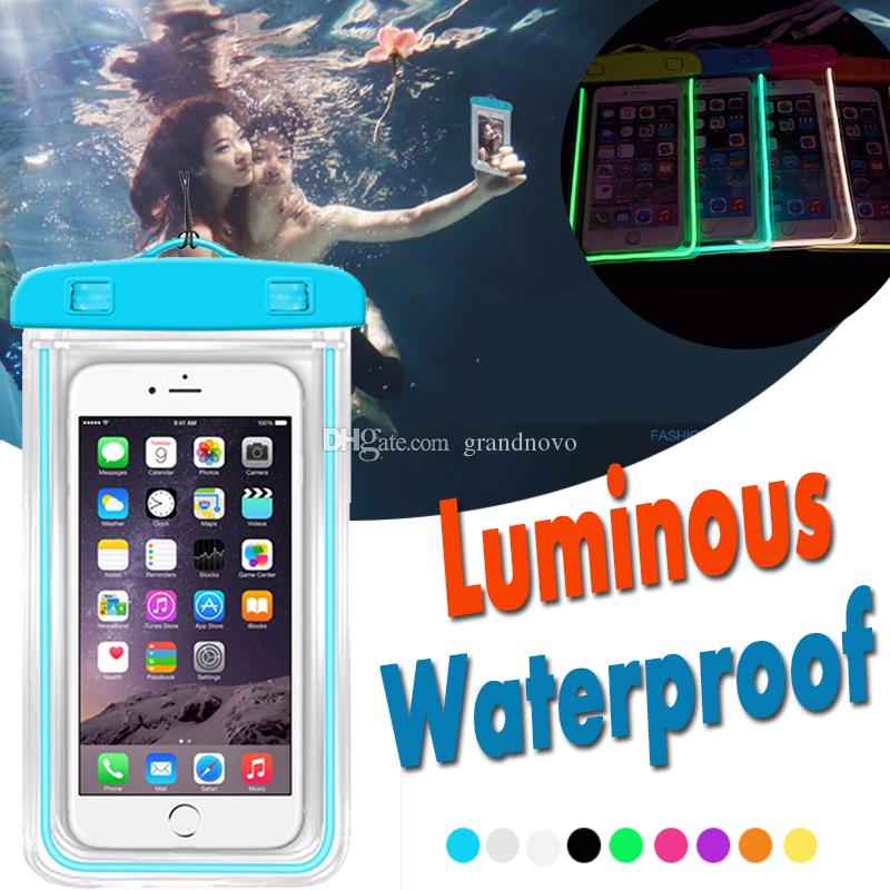 Luminous Waterproof Bag Underwater Pouch Phone Case For Iphone Samsung Galaxy Huawei Xiaomi Redmi Cell Phone Universal All Model Phone Bags & Cases
