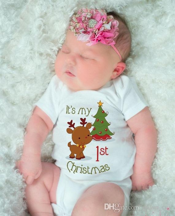 La mia prima maglietta del bambino di Natale neonato manica corta tuta in cotone Baby Girls Boys Body Abbigliamento tuta tute