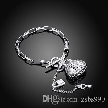 Factory price hot new 925 silver bag pendant necklace and bracelet charm jewelry set for women
