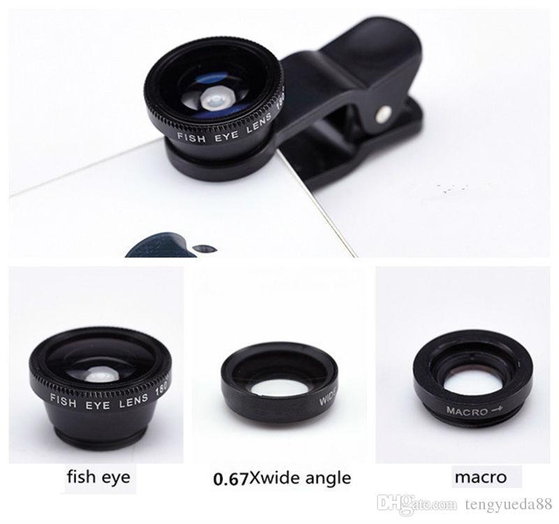 Universal 3 em 1 clipe olho de peixe smartphone lente da câmera grande angular macro lente do telefone móvel s7edge s8 s7edge celulares l8 lente olho de peixe