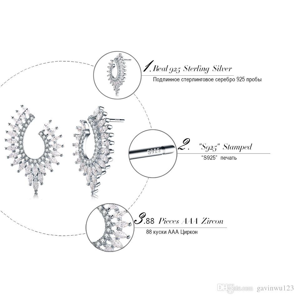 ОРСа фантазии Стад Серьги Серебро 925 стерлингового женщин ювелирные изделия Серьги стерлингового серебра с блестящими кубического циркония SE32