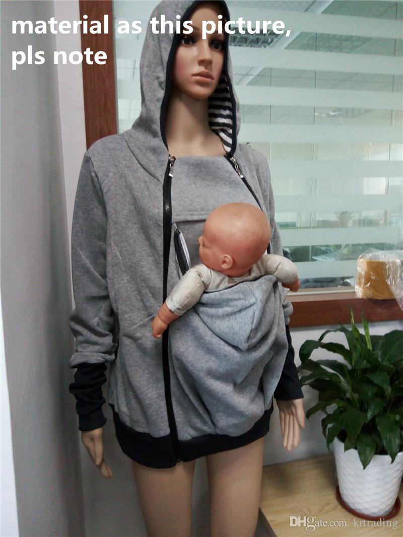 سترة الأم حامل الطفل متعدد الوظائف الكنغر الطفل الناقل معطف الأمومة سستة هوديس 4 أحجام