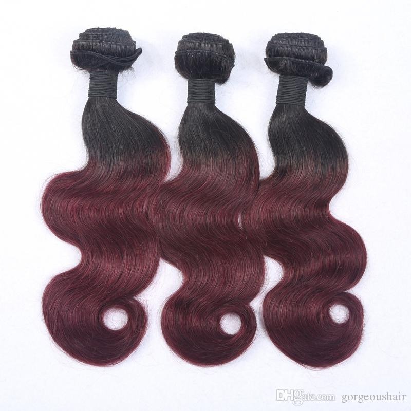Best Selling Virgin Brazilian Ombre Hair Weave #1B/#99j Two Tone Color Virgin Remy Hair Bundles Body Wavy Ombre Hair Extension