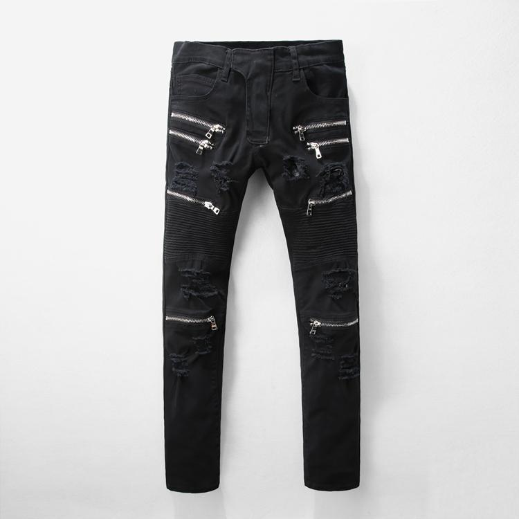 283e7696d7 Fashion- NEW Nice AUTUMN AND WINTER BIKER DENIM JEANS MEN HOLE RIPPED KNEE  ZIPPER BLACK JEANS,SLIM SKINNY PANTS #1121# SIZE 28 - 42