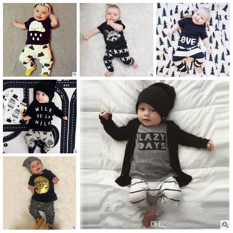 711702c2b 2019 Ins Baby Clothing Sets Boys Letter T Shirt Pants Kids Outfits ...