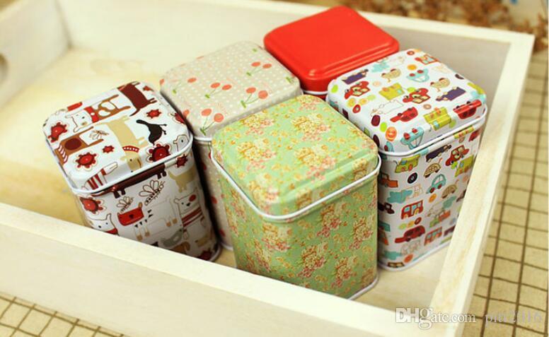wholesale Metal Little Tin Box Cute Caddy Cartoon Storage Practical Mini Iron Square Tin Box