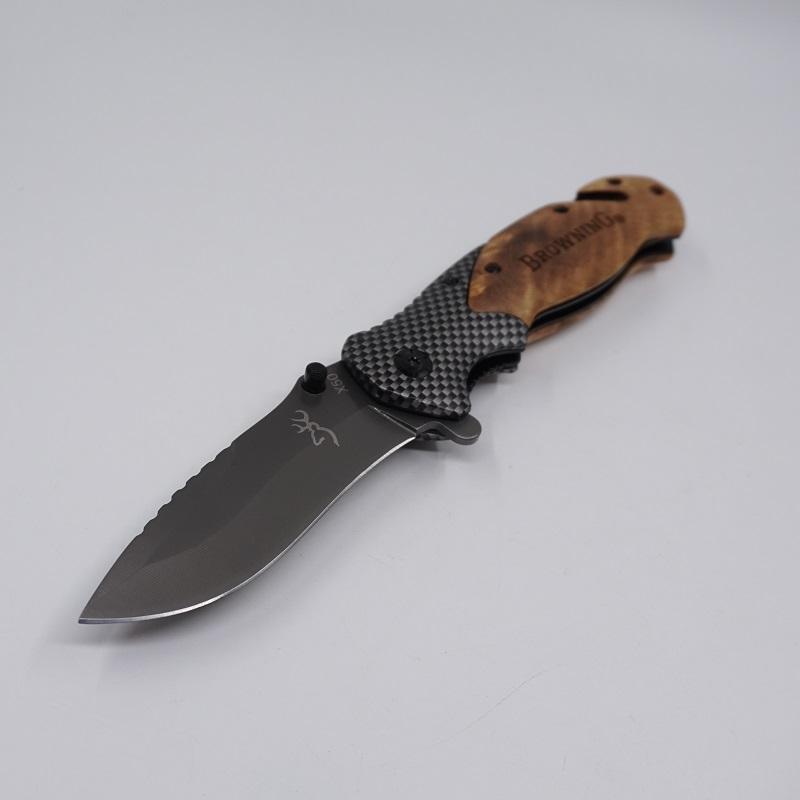 Browning X50 Couteau Tactique Pliant Couteau De Poche En Plein Air 440C Lame En Acier Manche En Bois Survie Couteaux Couteau De Chasse Camping Pêche EDC Outil
