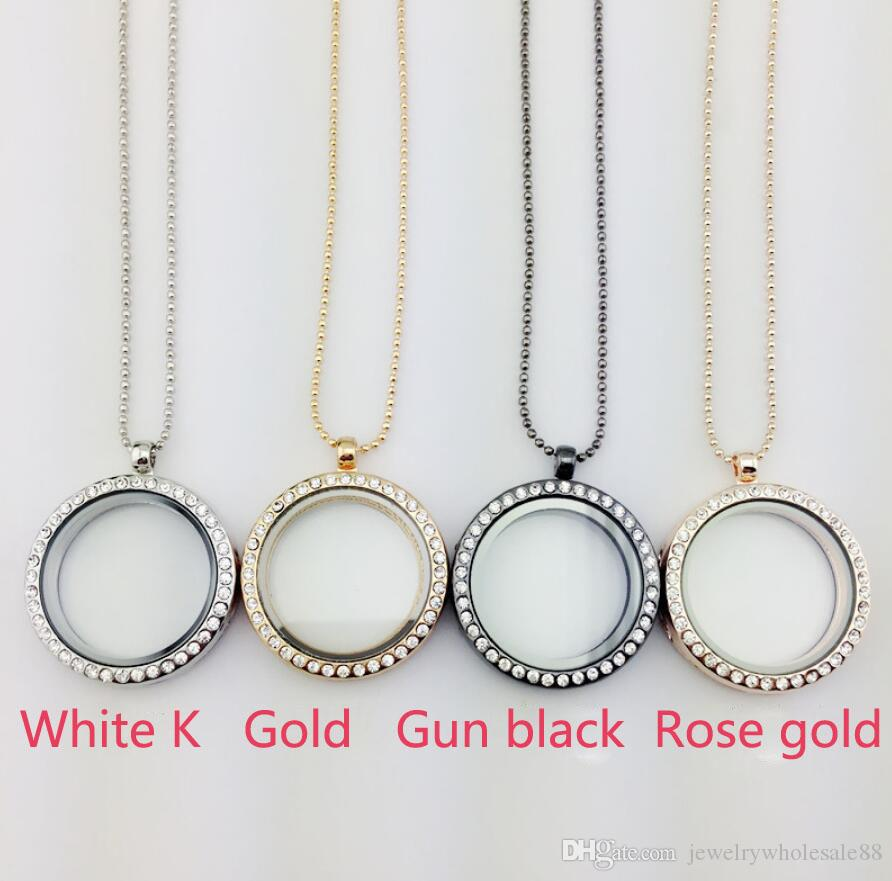 5PCS/Lot !! 30mm 4 Colors Round magnetic glass floating charm locket Zinc Alloy+Rhinestone (chains included for free)