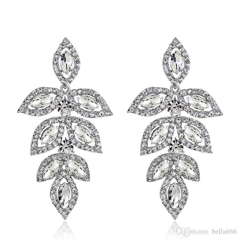3 Renkler Kristal Uzun Asılı Küpe Kartal Gümüş Altın Renk Rhinestone Gelin Düğün Dangle Avize Küpe Takı