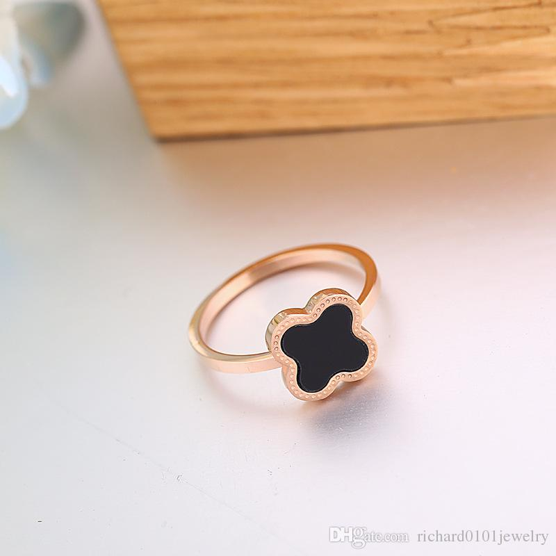 Clover Black Onyx Ring Carnelian female 18k rose gold titanium steel lucky four Leaf clover ring opening Korean for women