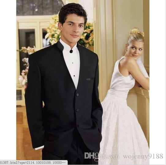 Three Buttons Chinese collar Classic Fit Black Groom Tuxedos Wedding Party Groomsman Suit Wedding Party Suit  jacket+Pants+tie.