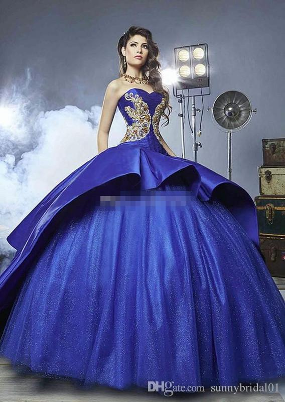 052e7a3ce821b Royal Blue 2017 Ball Gown Quinceanera Dresses Sweetheart Embroidery  Appliques Beading Gold Satin Tulle Luxury Sweet 16 Dresses Sweep Train  Black And Pink ...