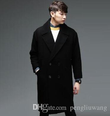 107978f5e91 2019 Black Loose Casual Medium Long Overcoat Mens Cashmere Coat Casaco  Masculino Inverno Erkek Mont Sobretudo England Plus Size 6XL From  Pengliuwang