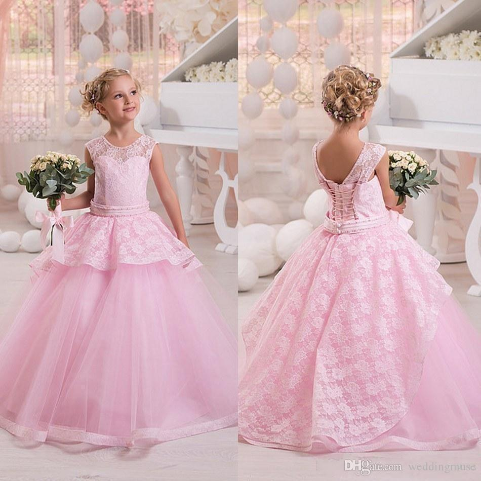 2018 Crew Neck Sleeveless Pink Lace Tulle Flower Girls\' Dresses Cute ...