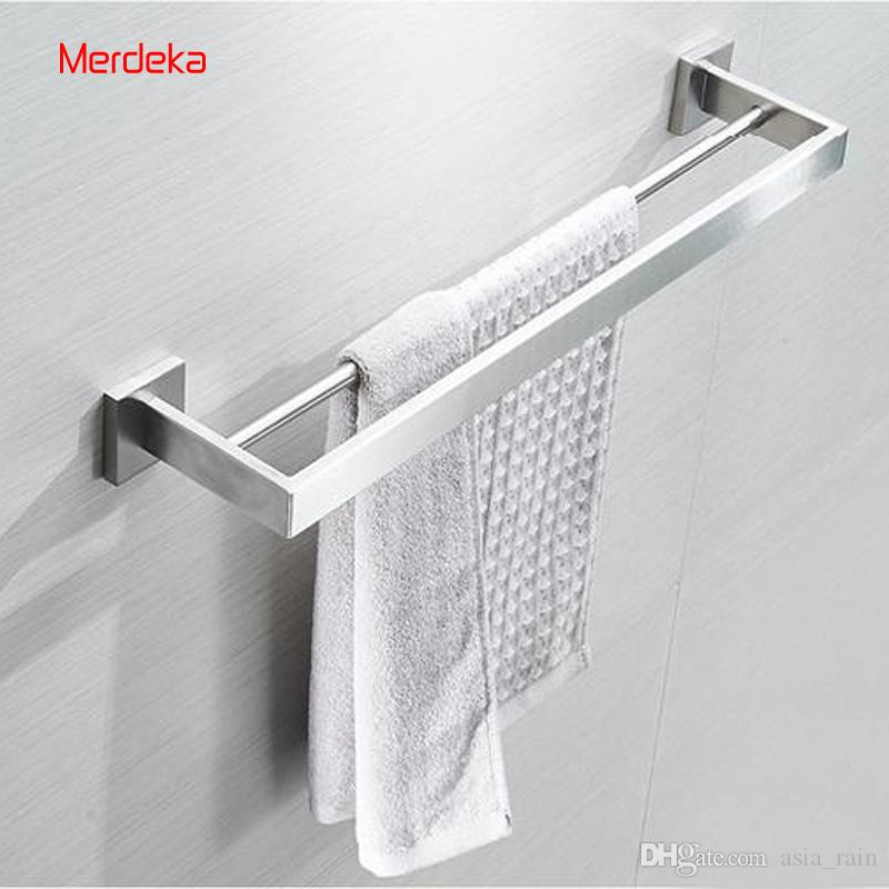 Ordinaire Factory Direct Sales Bathroom Fixture Stainless Steel Mirror Polish Towel  Bars Bathroom Towel Rack Double Bars Wall Mounted Square Bottom